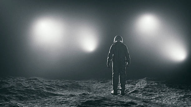 astronaut and the mysterious lights - astronaut bildbanksfoton och bilder