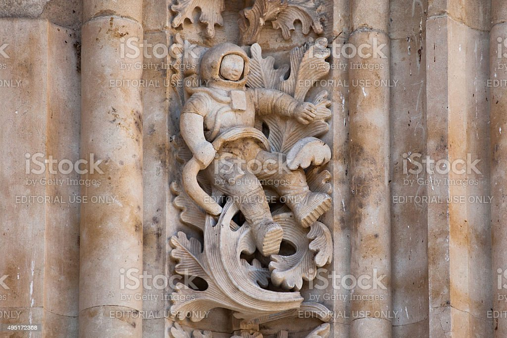 Astronaut carved in stone in the Salamanca Cathedral Facade stock photo