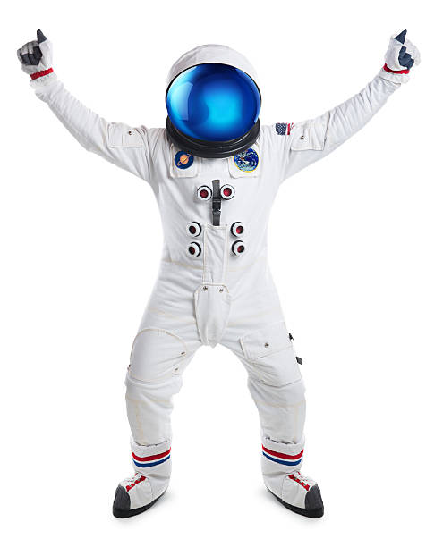 Astronaut Dancing Isolated on White stock photo
