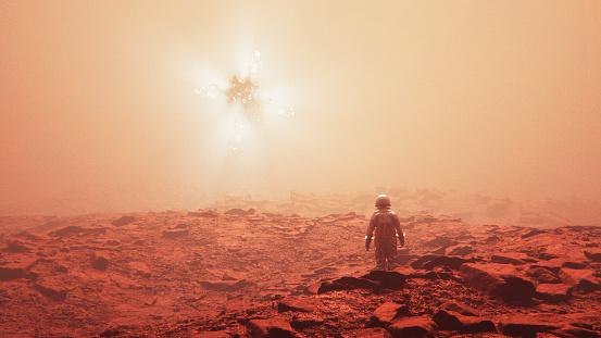 Astronaut discovering alien UFO