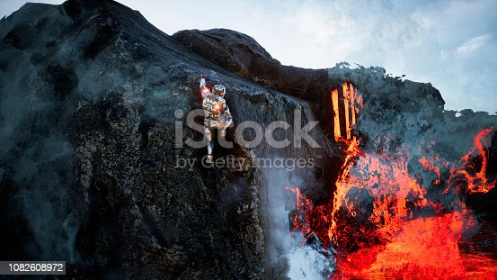 istock Astronaut escapes from the crater of the volcano. Super realistic concept. 3D Rendering 1082608972