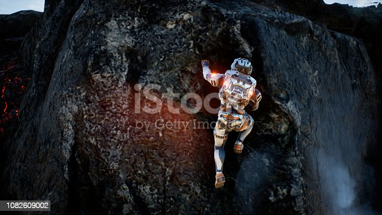 istock Astronaut escapes from the crater of the volcano. Super realistic concept. 3D Rendering 1082609002