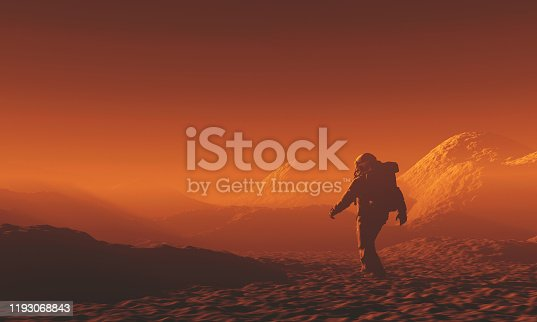 Astronaut exploring Mars.