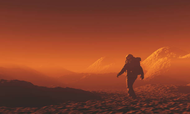 Astronaut exploring Mars Astronaut exploring Mars. copy space stock pictures, royalty-free photos & images
