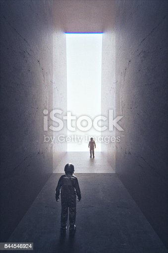 istock Astronaut facing his copy from alternate universe 844546924