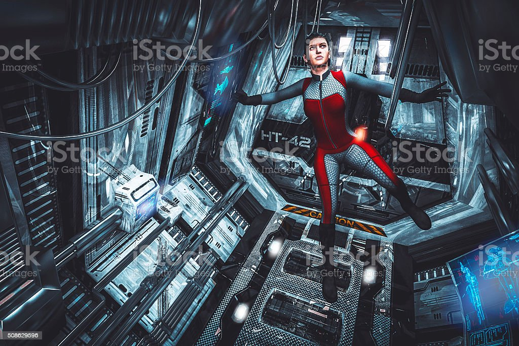 Astronaut floating in zero-gravity, spaceship, travel stock photo