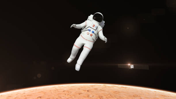Astronaut Flying Over The Mars Surface stock photo