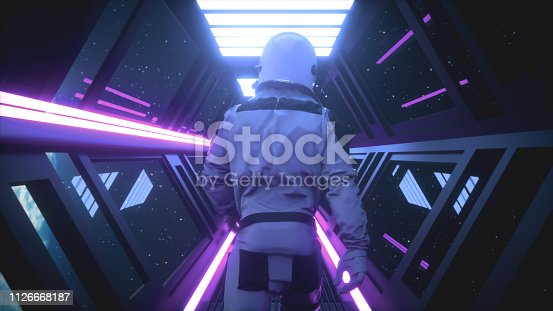 istock Astronaut going through the tunnel to another compartment of the space gateway 3d illustration 1126668187