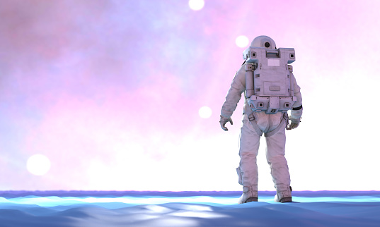 Astronaut in a fantasy environment