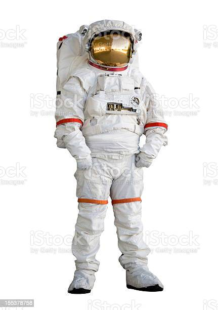 Astronaut space man ready for takeoff isolated on white.