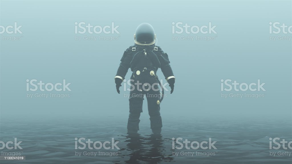 Astronaut In An Black An Gold Advanced Crew Escape Suit With Black