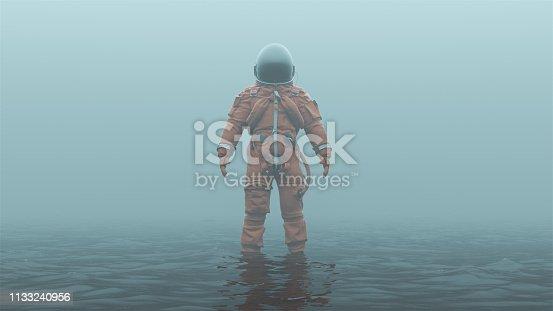 Astronaut in an Orange Advanced Crew Escape Suit with Black Visor Standing in Water in a Foggy Overcast Environment 3d illustration