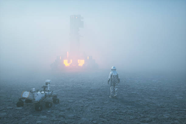 Astronaut in fog against alien object Astronaut in fog against alien object. rover stock pictures, royalty-free photos & images