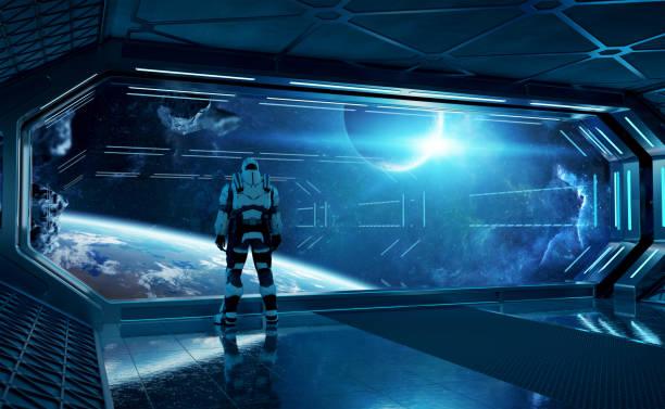 astronaut in futuristischem blauen raumschiff beobachtet raum durch ein großes fenster 3d rendering-elemente dieses bildes von der nasa eingerichtet - eingangshalle wohngebäude innenansicht stock-fotos und bilder