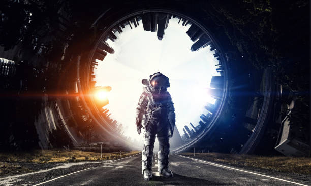 astronaut in outer space. mixed media - space and astronomy stock photos and pictures