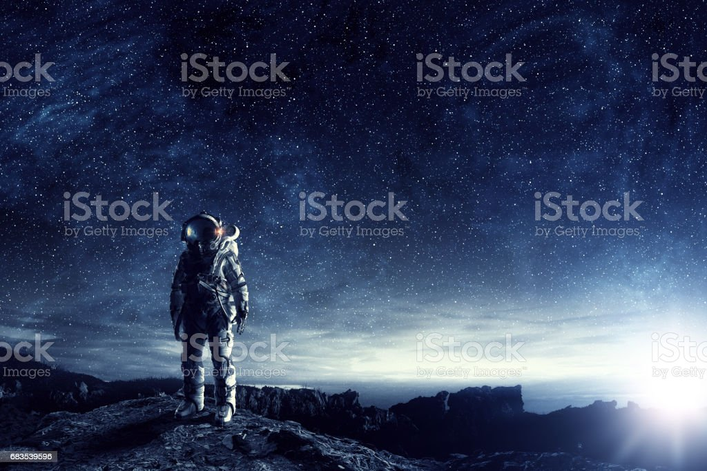 Astronauten in den Weltraum. Mixed-media – Foto
