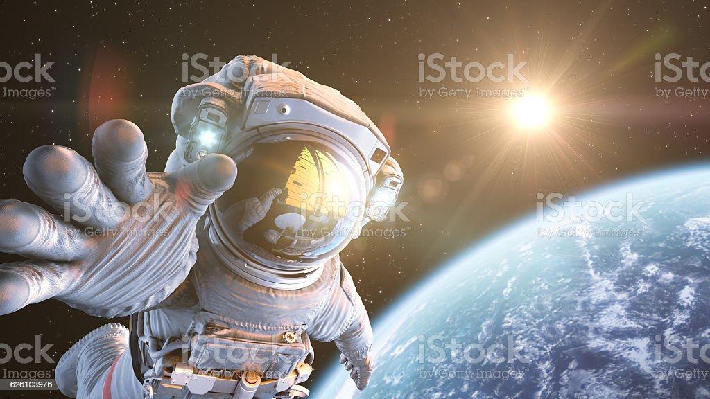 Astronauta nello spazio esterno - Foto stock royalty-free di Adulto