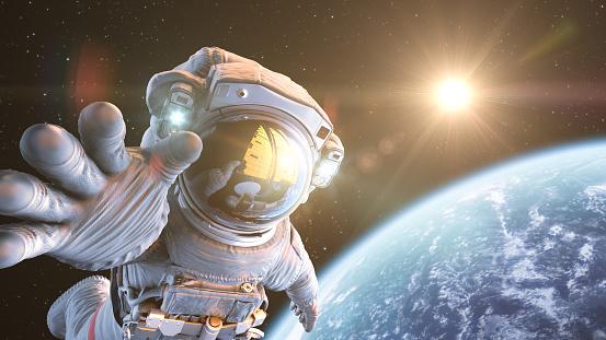 Astronauta Nello Spazio Esterno - Fotografie stock e altre immagini di Adulto