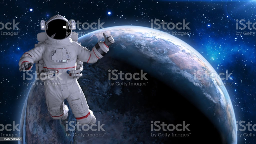Astronaut in space giving thumbs up, cosmonaut floating above planet Earth, 3D render stock photo