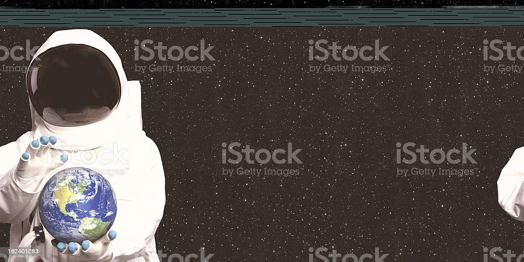 Astronaut In Space Holding The Earth royalty-free stock photo