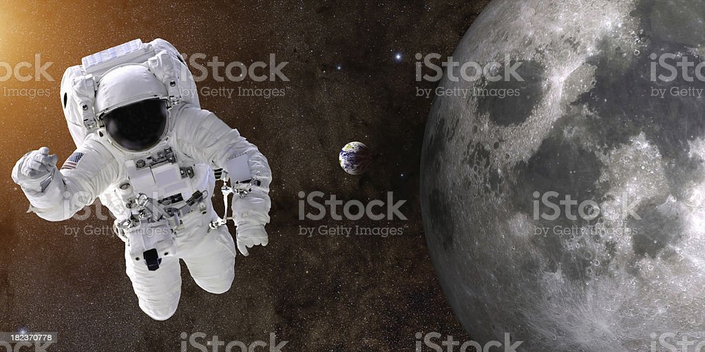 Astronaut In Space Near Moon stock photo