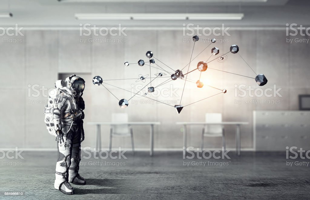 Astronaut in space suit stock photo