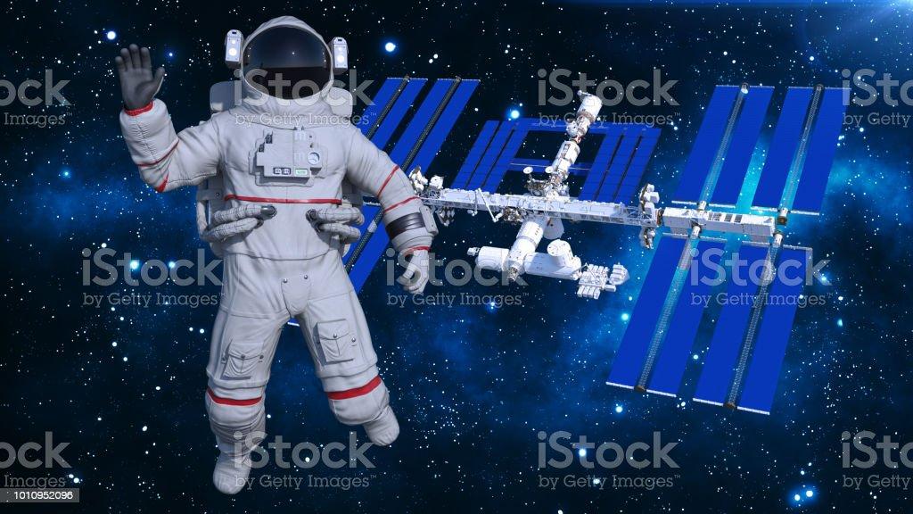 Astronauta en el espacio ondeando por encima de la estación espacial, cosmonauta con nave espacial en el fondo, 3D render - foto de stock