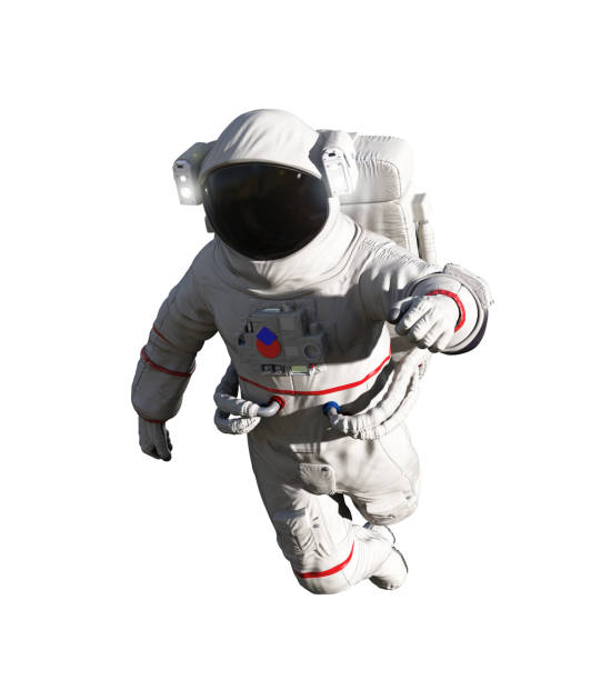 Astronaut isolated on white background. Floating stock photo