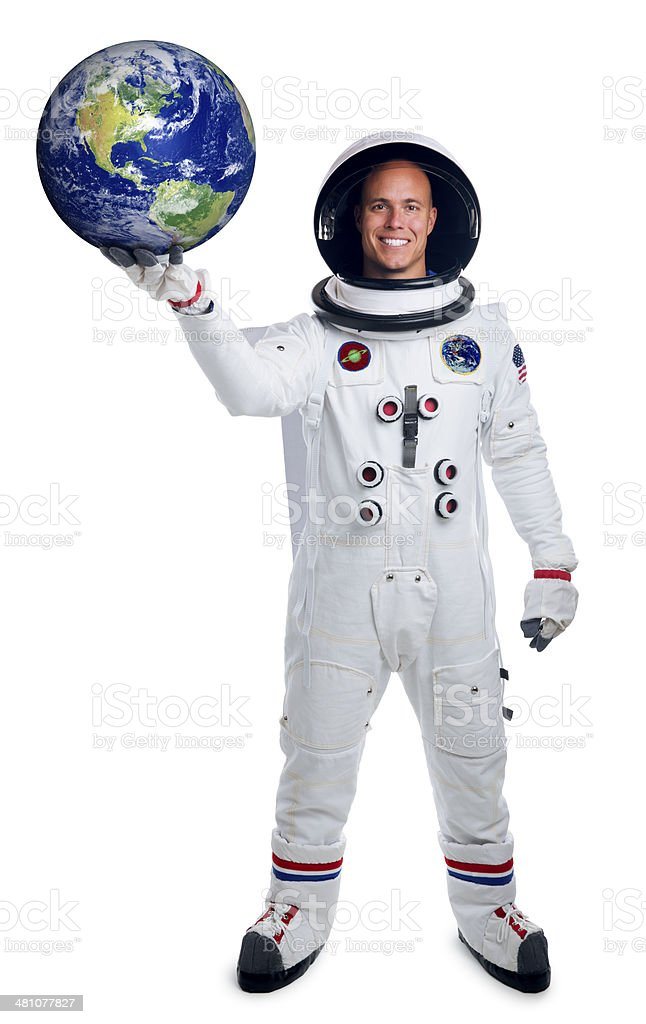 Astronaut Isolated on White Holding the Earth stock photo