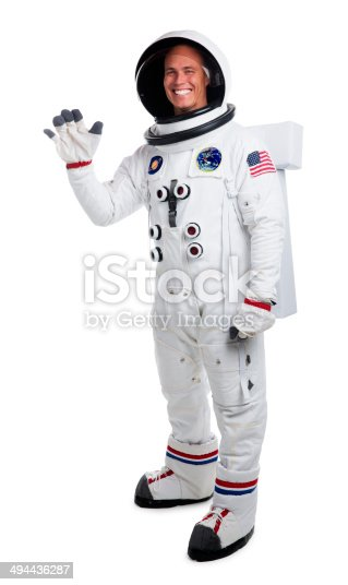 This is a portrait of an astronaut waving hello. The background is a pure white allowing for endless copy above. The Saturn and Earth patches are fake and were created in Photoshop. There is a clipping path included with this file.