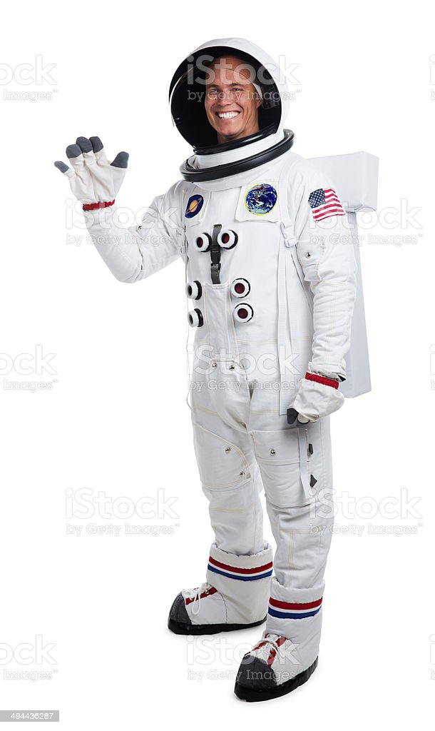 Astronaut Isolated on White Waving stock photo