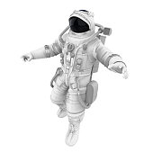 Astronaut isolated on white background. 3D render