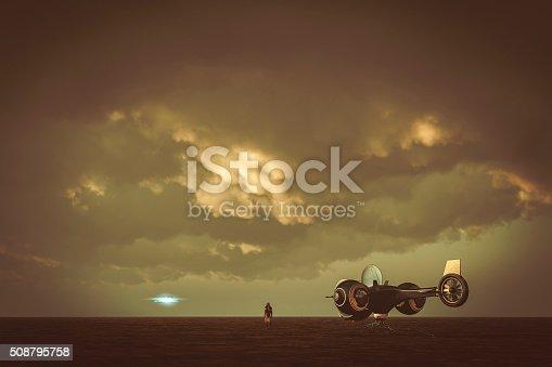 Astronaut landing on flat alien planet, ufo.