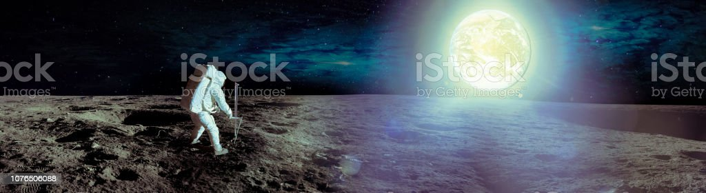 Astronaut landing on moon. Spacewalk on the moon. Panoramic view of...