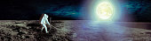 Astronaut landing on moon. Spacewalk on the moon. Panoramic view of the moon surface and the earth planet at light. Elements of this image furnished by NASA.