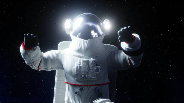 Astronaut levitation in space. 3d rendering. stock photo