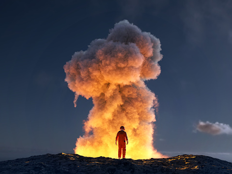 astronaut look at the big explosion