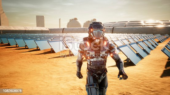 istock Astronaut martian returns to base after inspecting solar panels. Super realistic concept. 3D Rendering 1082608978