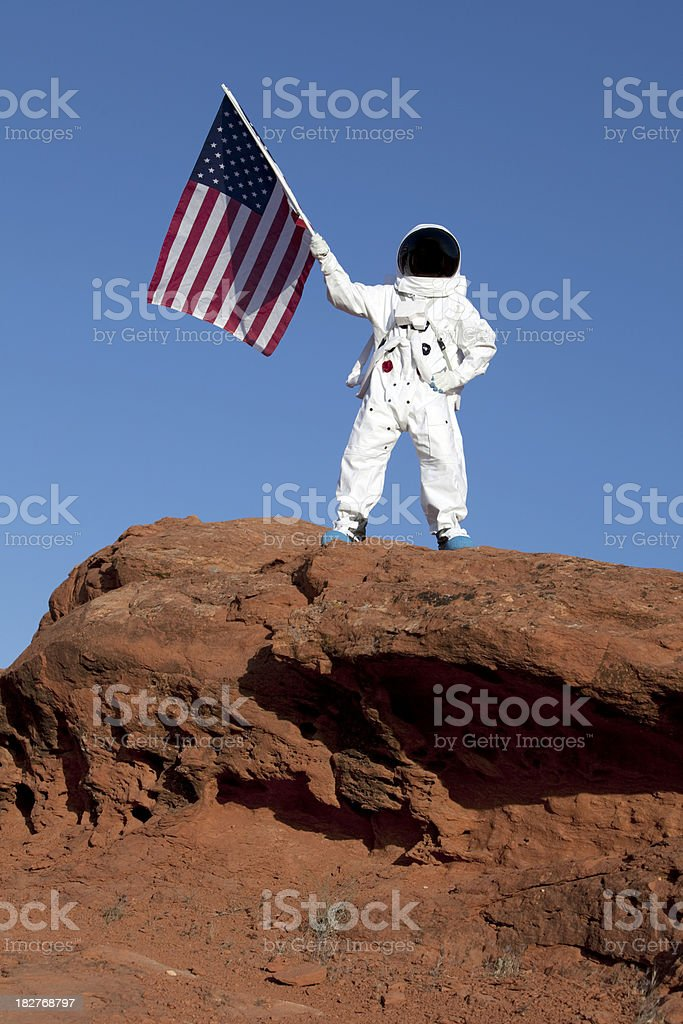Astronaut on Mars stock photo