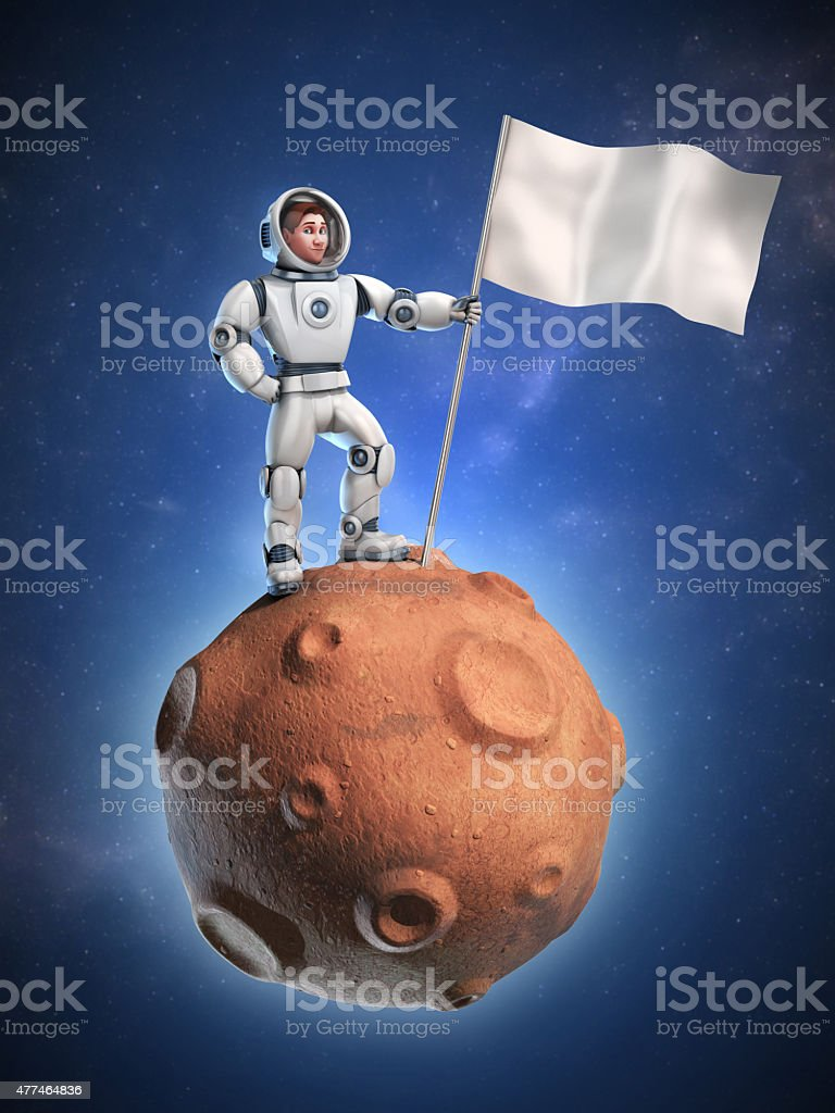 astronaut on meteor holding a blank flag stock photo