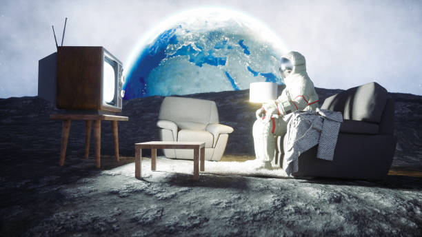 Astronaut on the moon. 3d rendering. stock photo