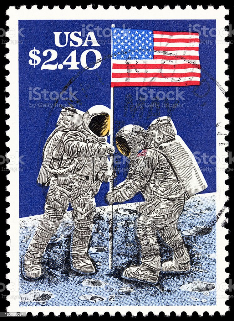 Astronaut on the Moon stock photo
