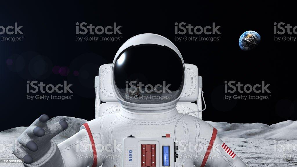 Astronaut On The Moon Surface stock photo