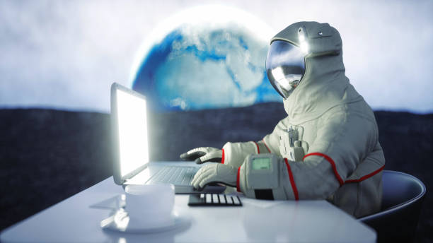 Astronaut on the moon working with notebook . 3d rendering. stock photo