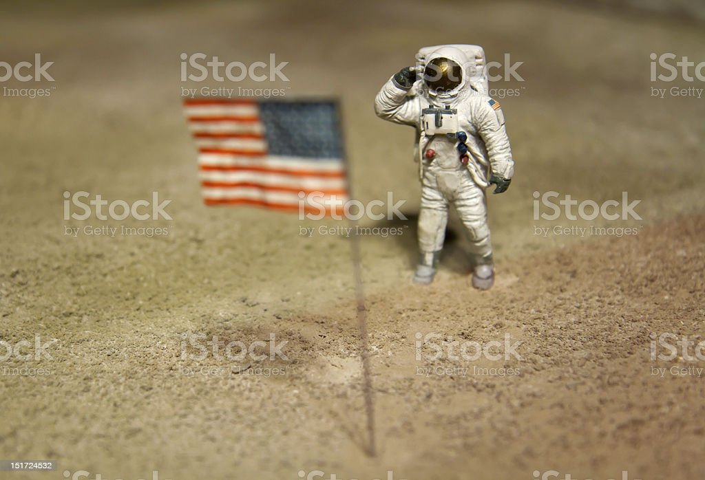 Astronaut or spaceman working on moon stock photo