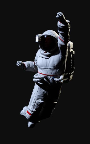 De astronaut stelt tegen met het knippen van weg. foto