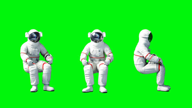Astronaut sit idlle . Green screen. 3d rendering. stock photo