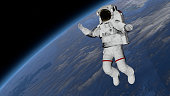 Astronaut Spacewalk, Astronaut in the open space. Elements of this image furnished by NASA. 3D rendering.
