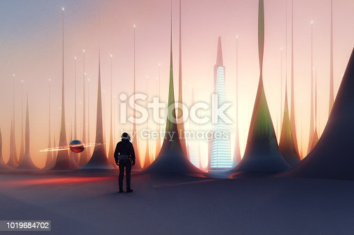 istock Astronaut standing on frozen alien landscape 1019684702
