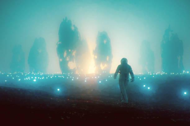 Astronaut walking distant exo planet Astronaut walking distant exo planet. This is entirely 3D generated image. ancient civilization stock pictures, royalty-free photos & images